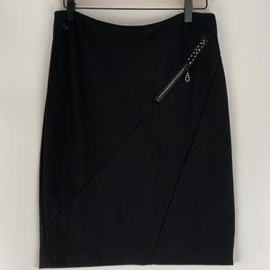 Christine Alexander Black Pencil Skirt Rhinestone